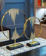 الدوائر الأوروبية مصنوعة من المعدن المطلي باللون الذهبي اكسسوارات منزلية