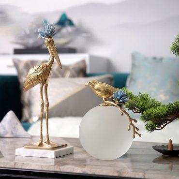 الطيور النحاسية بقاعدة الرخام اكسسوارات منزلية