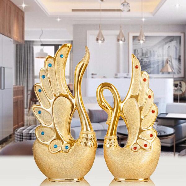 تمثال البطة الذهبية الزخرفية اكسسوارات منزلية