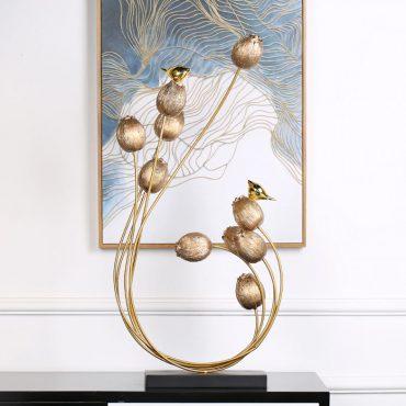 تمثال الزهور و الطيور الذهبي اكسسوارات منزلية
