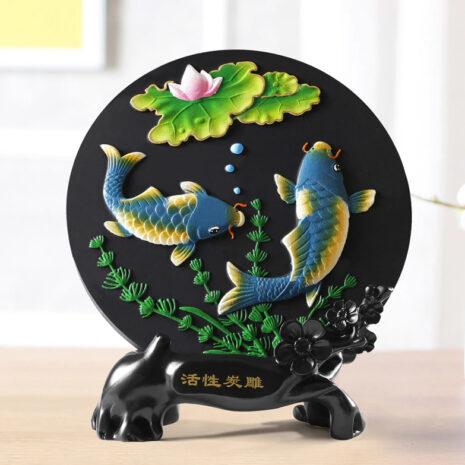 تمثال لوحة السمك الصيني التقليدي اكسسوارات منزلية