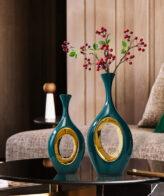 مزهرية السيراميك الزرقاء اكسسوارات منزلية