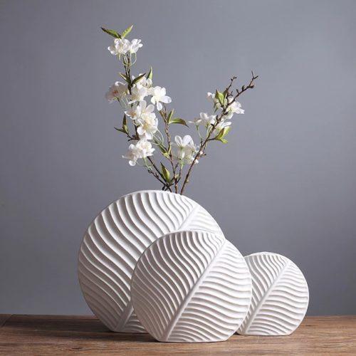 مزهرية ورق النبات السيراميكية اناء الزهور اكسسوارات منزلية