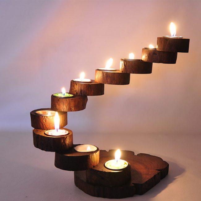 مجموعة الشموع الخشبية ديكور و اكسسوارات
