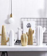 تمثال الصبار الصحراوي الابيض و الذهبي ديكور و اكسسوارات