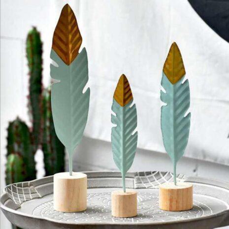 ريشة زخارف خشبية بسيطة التماثيل ل غرفة المعيشة ديكور و اكسسوارات