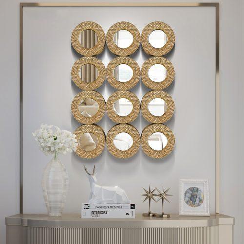 المرايا الدائرية الذهبية الفاخرة اكسسوارات جدارية