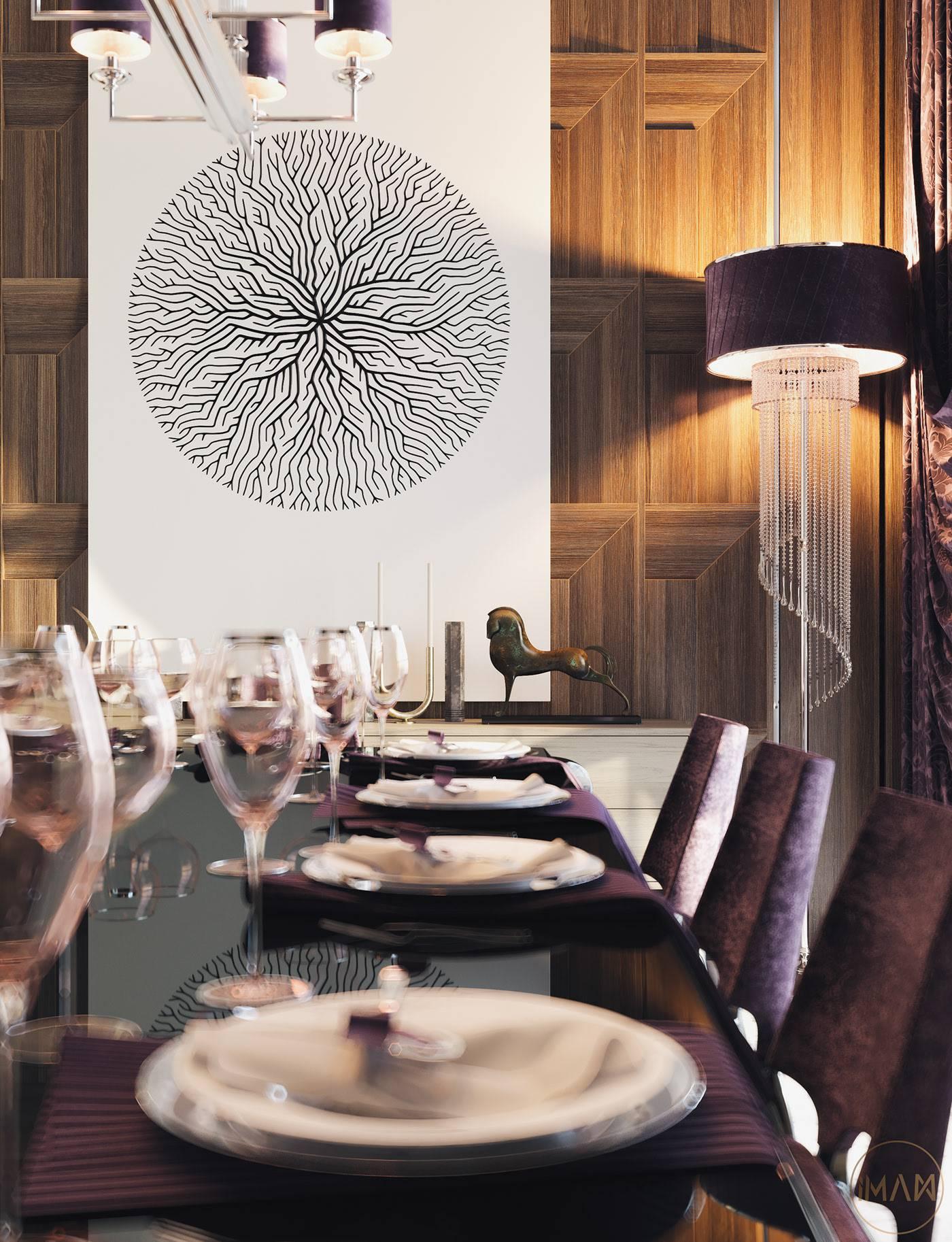 تصميم غرفة جلوس مع طاولة طعام