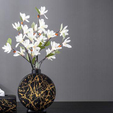 مزهرية اناء الرخام الاسود اكسسوارات منزلية
