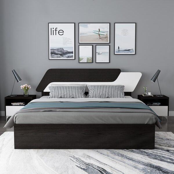 غرفة نوم مودرن ذات الصندوق الخشبي مفروشات