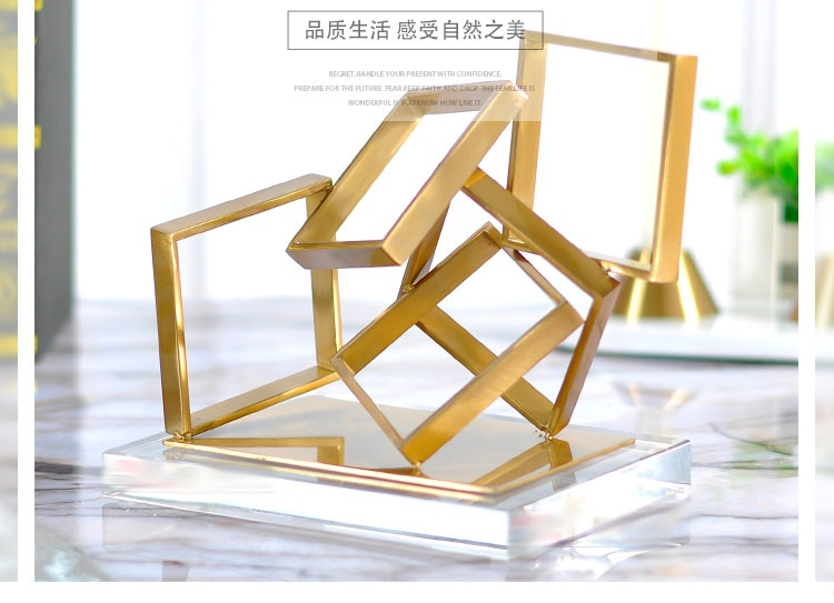 Modern Creative Stacked Geometric Square Metal Statue Home Decor Crafts Room Decoration Objects Office Crystal Figurines