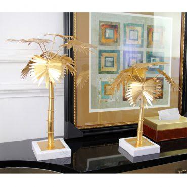 اكسسوار أشجار النخيل الذهبي قاعدة رخامية اكسسوارات منزلية