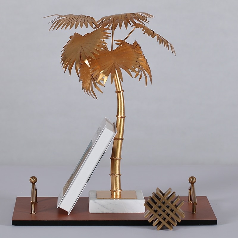 Gold Palm Sculpture Creative White Marble Crafts Gifts Modern Simple Home Decorations Coconut Tree Statues Desktop Ornament Gift