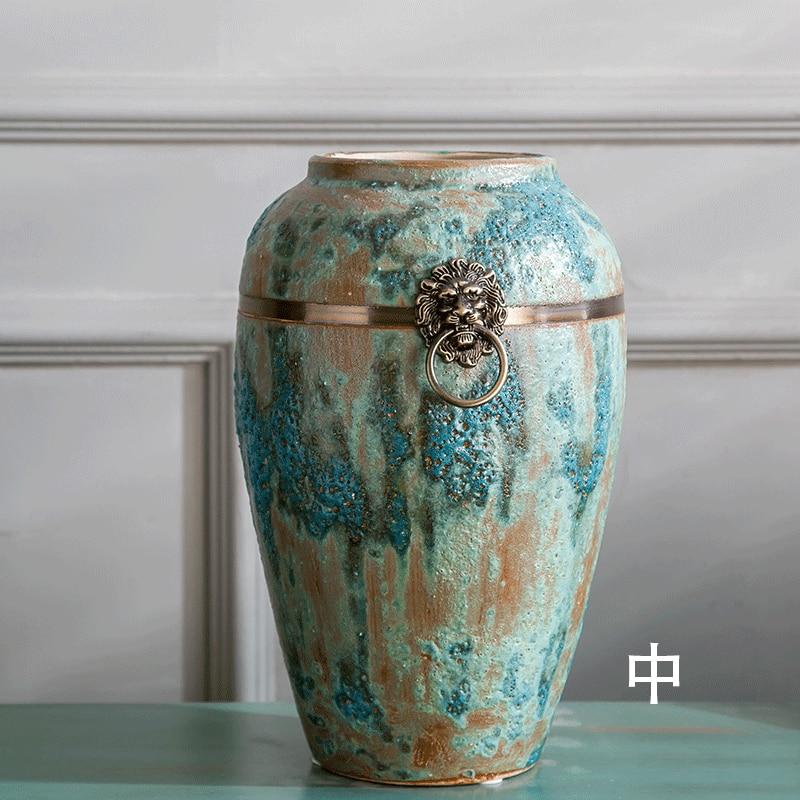 Jingdezhen Ceramics with Copper Ring Blue Bubble Glaze Ceramic Floor Large Vase Classical Chinese Ornaments