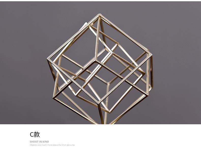 Nordic Geometric Square Sphere Metal Figurines Home Decor Crafts Livingroom Desktop Crystal Glass Ornaments Modern Wedding Gift
