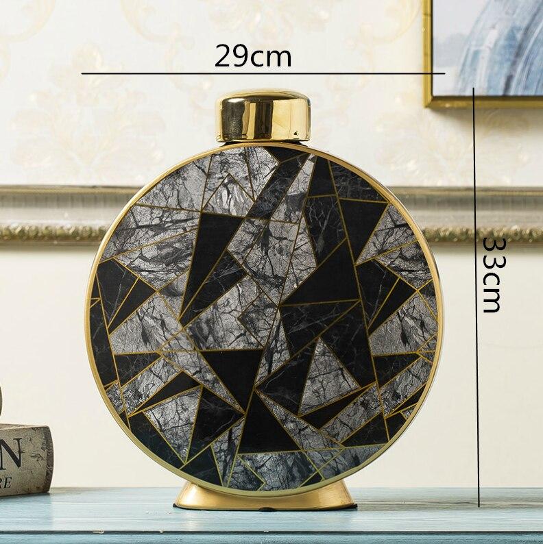 Nordic Creative Gold ceramics vase Round geometric Decorative ornaments Flower arrangement accessories Modern home decoration