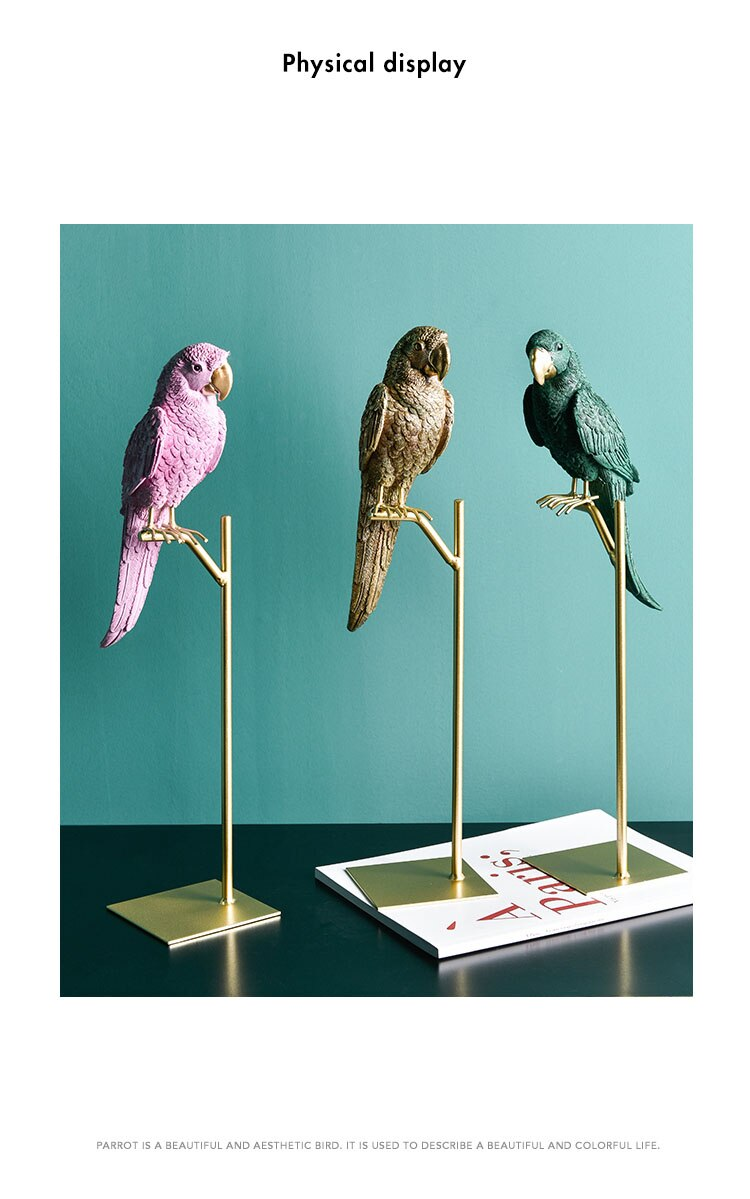 Nordic Desk Ornament Resin Parrot Miniature Figurines Crafts Minimalist Color Home Decoration Accessories Outdoor Adornment