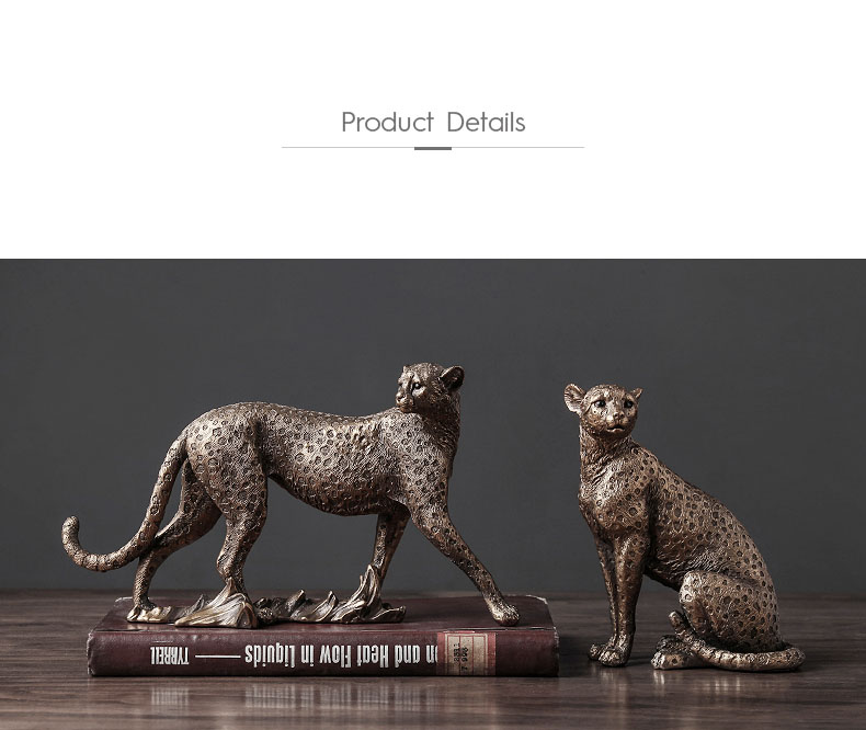 Retro Cheetah Ornaments Golden Jaguar Statue Desk Decoration Animal Statuette Resin Leopard Crafts American Vintage Home Decor