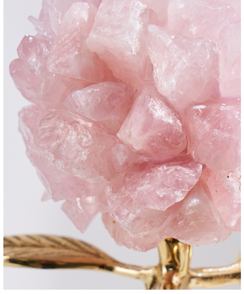 Beautiful Blooming Natural Pink Crystal Stone With Brass Leaves Sculpture Marble Statue Home Living Room Decoration Accessories