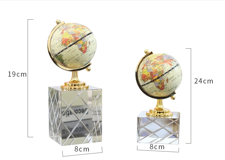 Luxurious 24cm Globe Statue Sculpture With White Transparent Crystal Base Home Art Gift Figurines Home Decor Crystal Accessories