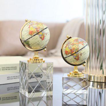 تحفة الكرة الارضية بالقاعدة الكريستالية المزخرفة اكسسوارات منزلية