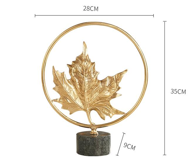 Creative Gold Copper Plant Maple leaves Statue Home Decor Crafts Room Objects Green Marble Office Figurines Wedding Gifts