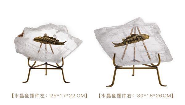 اكسسوار السمك البحري المرصع على حجر الكريستال الطبيعي اكسسوارات منزلية
