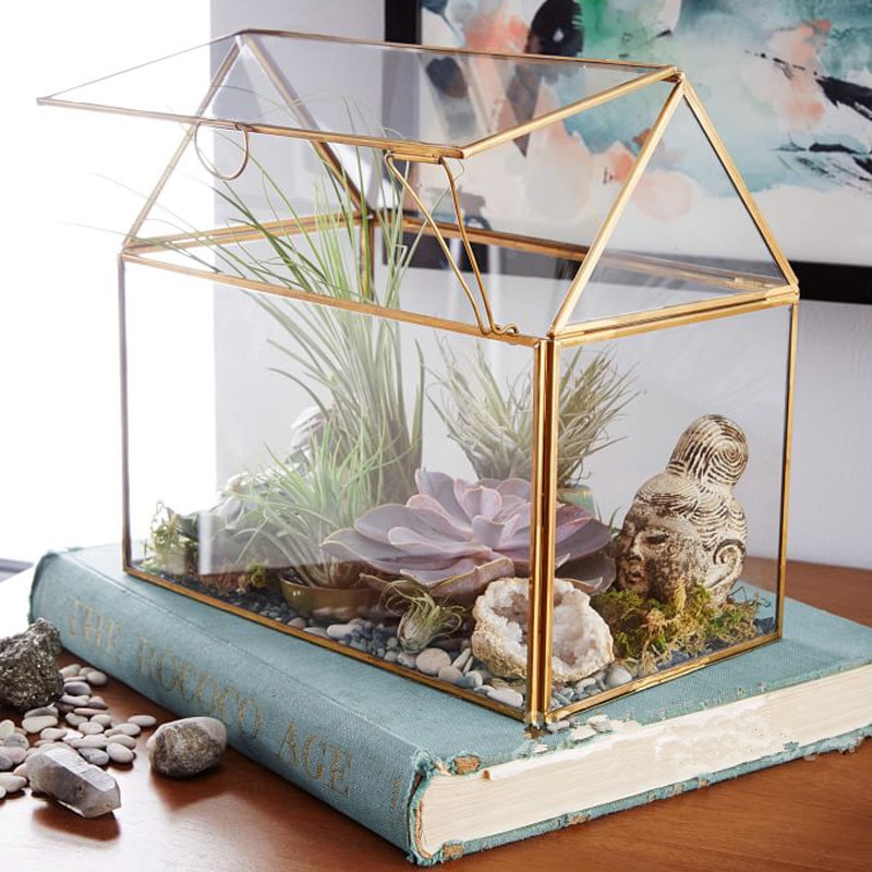 Modern Style Irregular Glass Vase Geometric Succulent Planter Vase Box Terrarium Container Great Gift