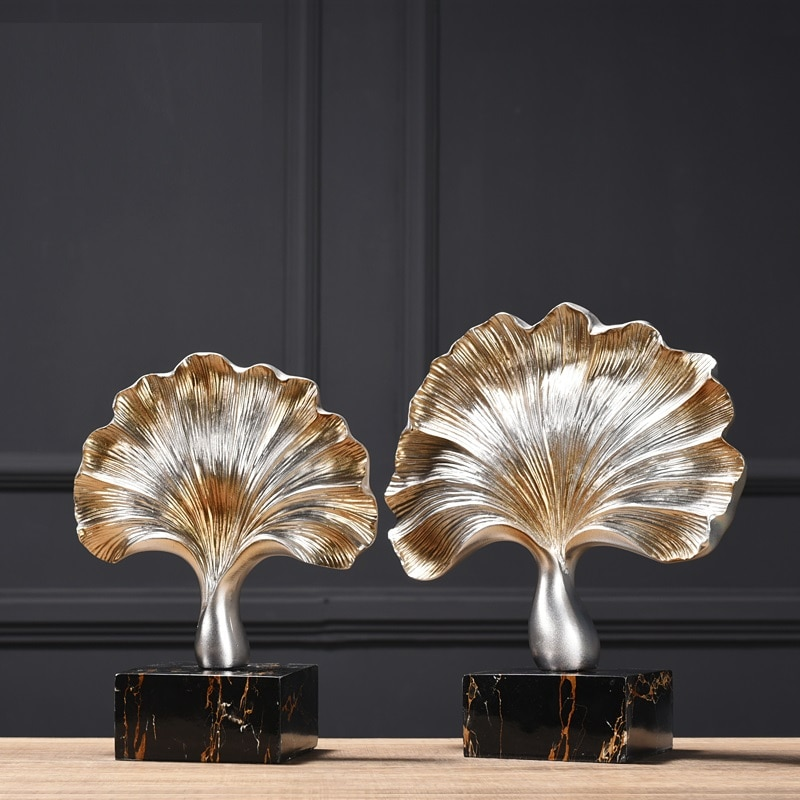 Retro Ginkgo Leaf Furnishings Home Decoration Creative Living Room Modern Office Cabinets Ornaments Statue Crafts Display R4062