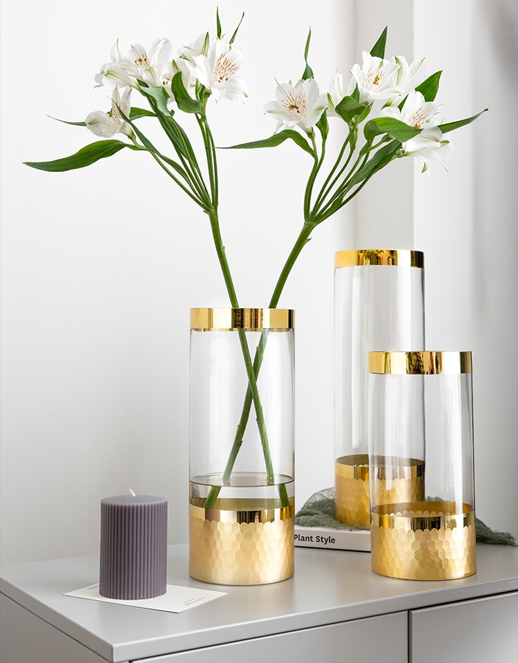 glass vase Gold Wedding decoration Golden rim Home living room Hydroponics Flower