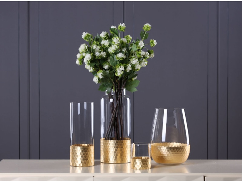 Europe Glass Flower Vase with Gold Foil Figurines Home Living Room Decor Household Gold Tabletop Plant Vase Crafts Wedding Gifts