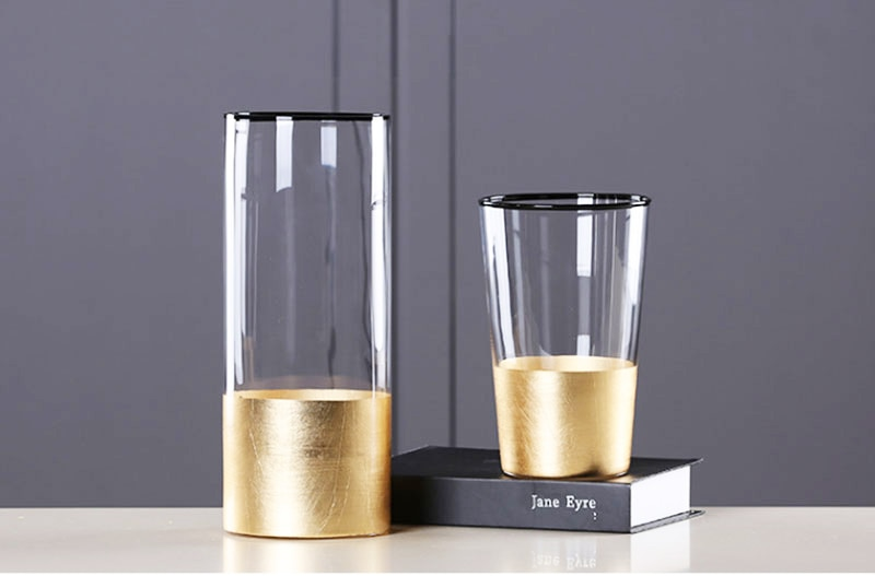 European Glass Flower Vase with Gold Foil Figurines Living Room Decor Gold Tabletop Vase Crafts Household Ornament Wedding Gifts