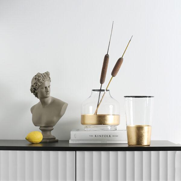 الفازو الاوروبي الذهبي و الزجاجي اكسسوارات منزلية