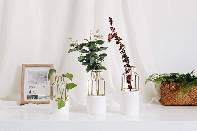 Ceramic Metal Flower Vase for Home Wedding Tabletop Green Plant Flower Pot Decorative Gold Flowerpot Living Room Home Decoration