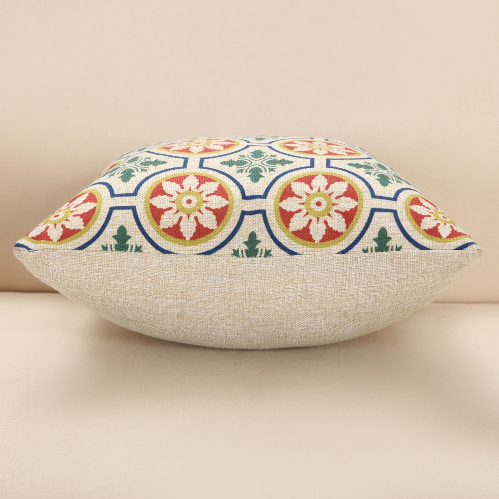 Modern Geometric Cushion Cover Rainbow Circular Totems Pillow Cover 45*45CM Home Sofa Decorative Pillowcase Office Car Pillows