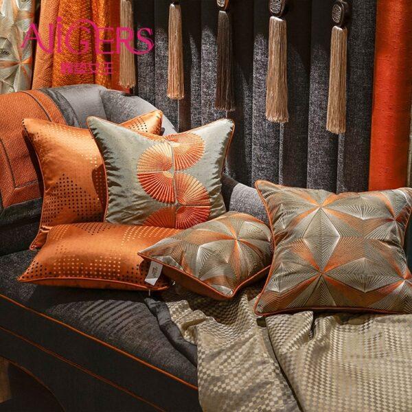 كوشنات الديكور الفاخر البرتقالي و الرمادي وسادة كوشن
