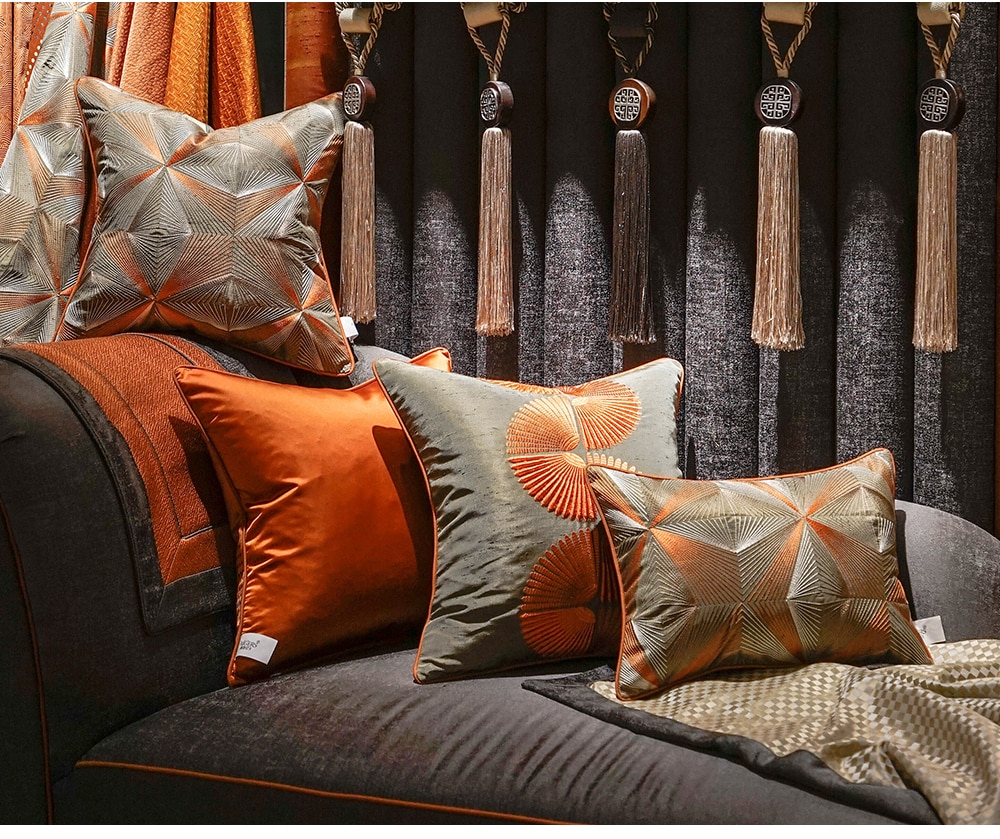Avigers Luxury Home Decorative Orange Gray Cushion Covers Embroidery Throw Pillow Cases Square Customized 45 x 45 50 x 50cm