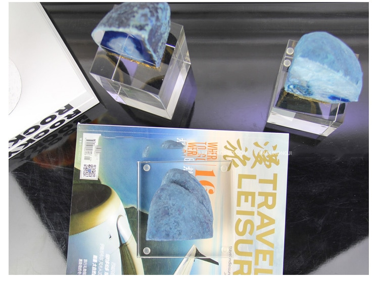 Modern Blue Natural Agate Stone Statue Home Decor Accessories Crafts Room Desktop Decor Objects Hotel Rectangle Crystal Figurine