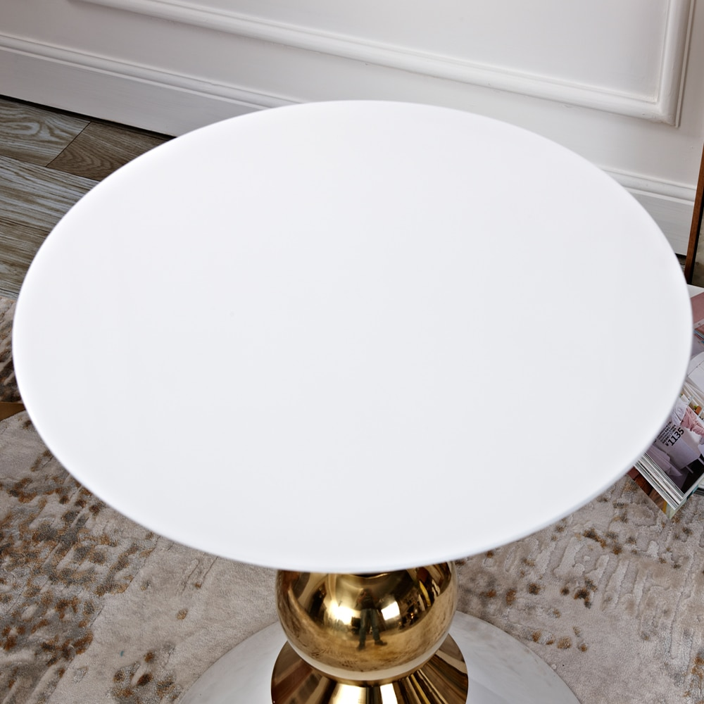 Luxurious style living room side tables Gold Tea-table sofa End-table white and black side coffee table