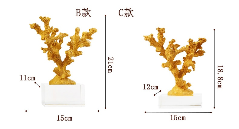 Nordic Blue Yellow Coral With Crystal Base Ornaments Mediterranean Modern Home Decoration maison Living Room Desktopn Statue