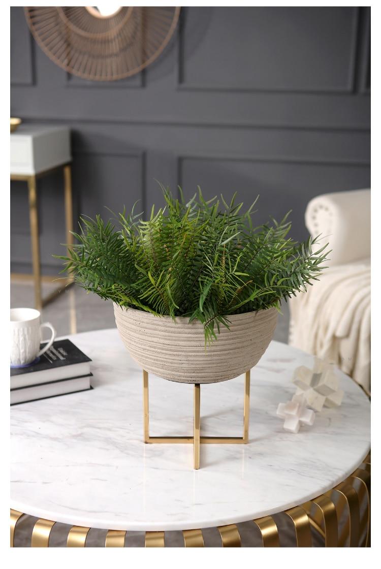 Resin Semicircular Storage Basket Modern Flower Pot Flower Storage With Gold Metal Shelf Decor Fruit Basket For Home Desktop