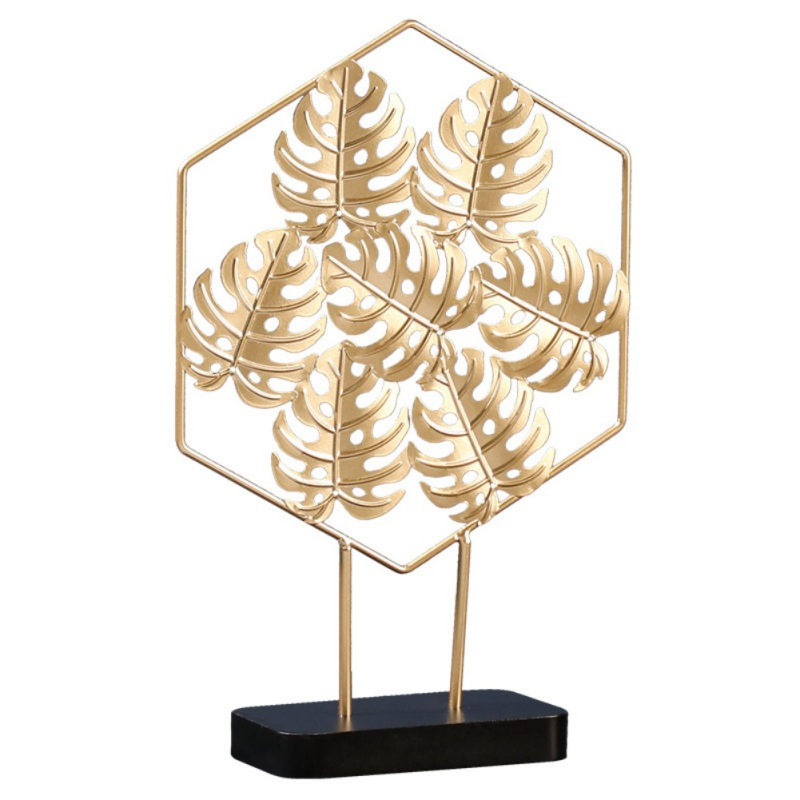Luxury Light Golden Leaves Wrought Iron Backsheet Ornaments Home Living Room Porch Desk Furniture Home Decoration Accessories