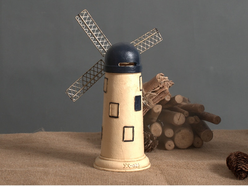 4 Colors Vintage Resin Windmill Ornaments Piggy Bank Dutch windmill Home Decor Ornaments Europe Models Gifts Furnishing Articles