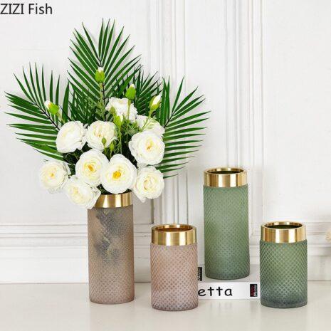 المزهريات الزجاجية ذو الاطار الذهبي اكسسوارات منزلية