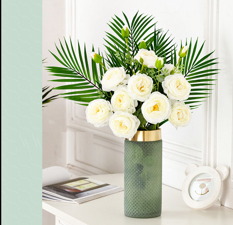 Home Vase Glass Vases Green Mesh Gold Rim Flower Insert Artificial Fake Flower Furnishings Home Decoration Accessories Modern