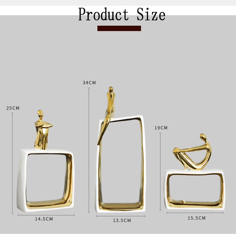 Home Decor Ceramics Character Statue Ornaments Breakthrough Frame Gold Plating Ceramic Statue Crafts Home Decoration Accessories
