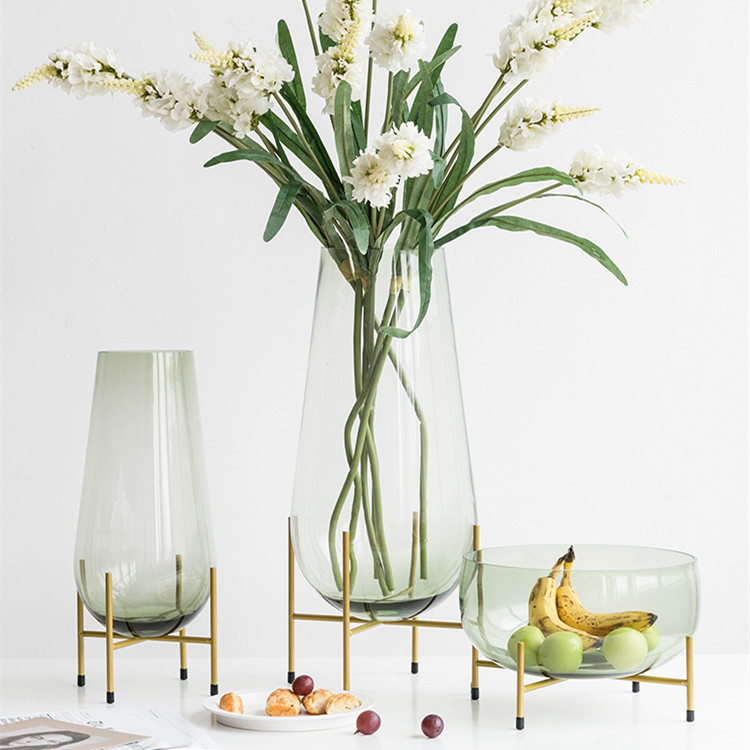 Light Luxury High Iron Glass Vase Color Water Flower Organ Nordic Wind Decoration
