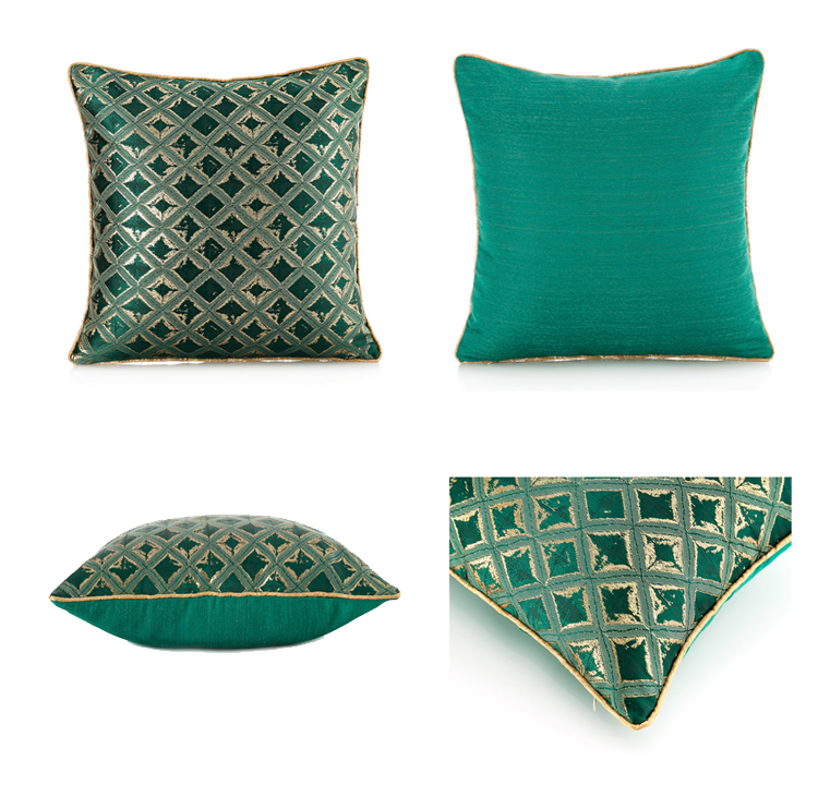 Luxurious embroidered cushion cover geometry spray green pillow cover chair sofa hotel decorative pillowcase