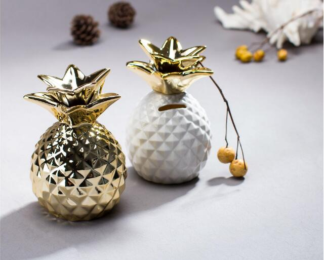 1PC Ceramic Pineapple Money Boxes Ornaments For Home Modern Piggy Bank Coin Box For Home Decoration Accessories Souvenirs ME 033