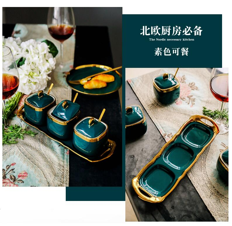 Northern European Light Luxury Emerald Ceramic Sugar Cans Salt MSG Jar Seasoning Jar Seasoning Box Four-piece Household Set